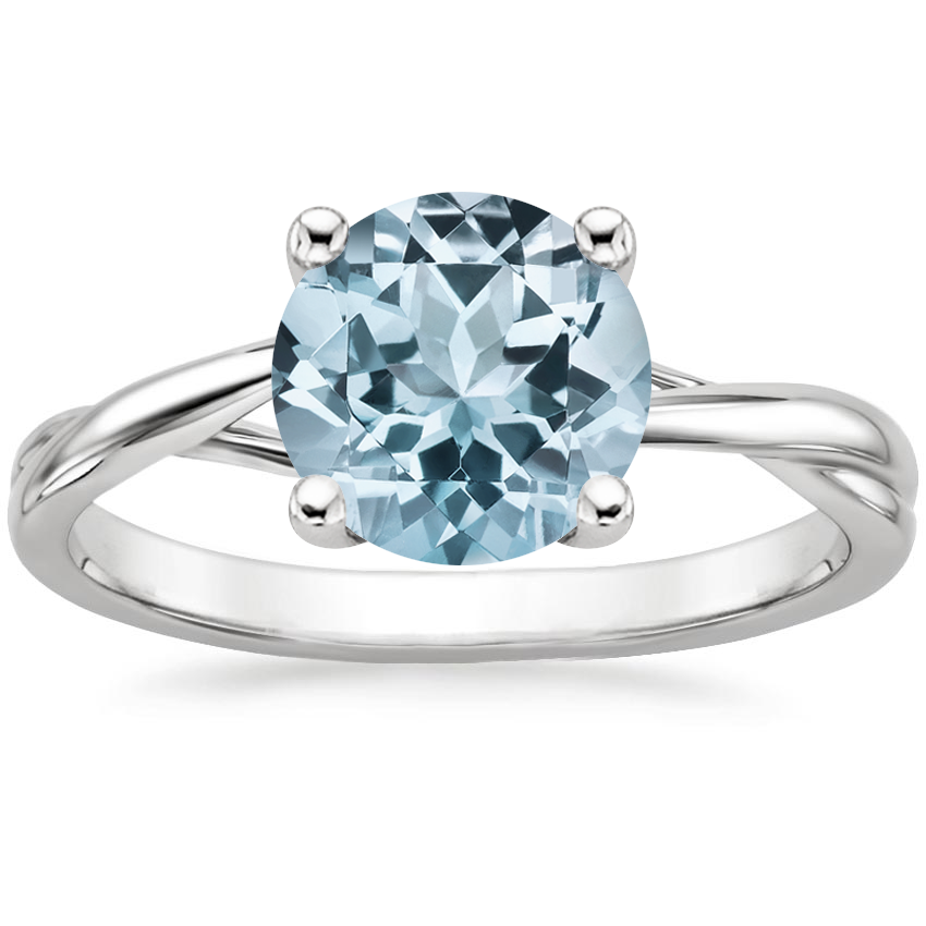 Aquamarine Grace Ring in 18K White Gold