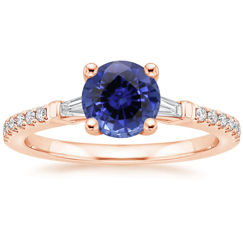 Rose Gold Sapphire Luxe Tapered Baguette Diamond Ring (1/4 ct. tw.)