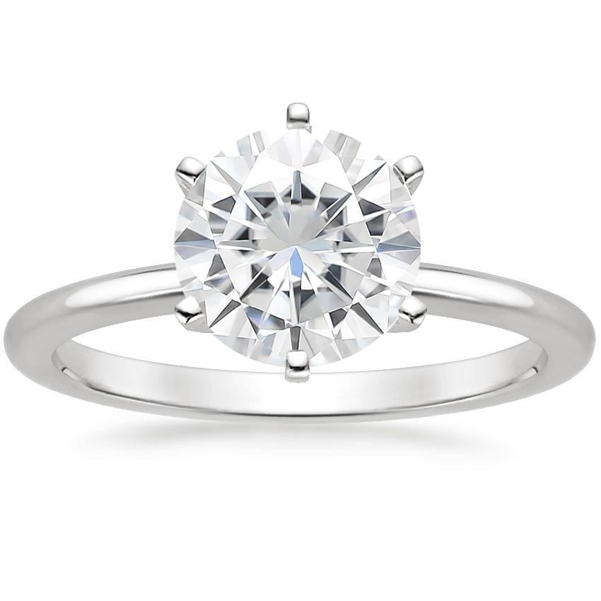 Moissanite Six-Prong Petite Comfort Fit Ring in 18K White Gold