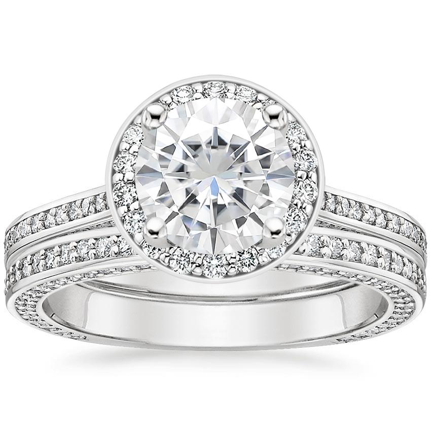 18KW Moissanite Enchant Halo Bridal Set (1 ct. tw.), top view