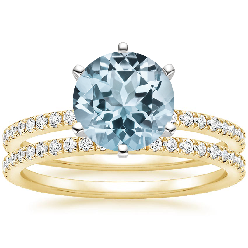 18KY Aquamarine Lyric Diamond Ring with Luxe Ballad Diamond Ring (1/4 ct. tw.), top view