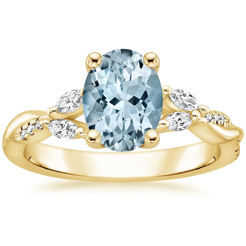 Yellow Gold Aquamarine Cassia Diamond Ring