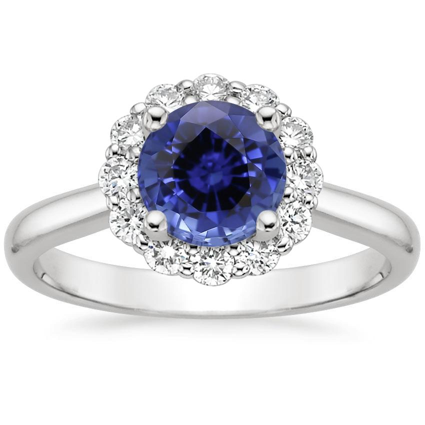 Sapphire Lotus Flower Diamond Ring (1/4 ct. tw.) in 18K White Gold