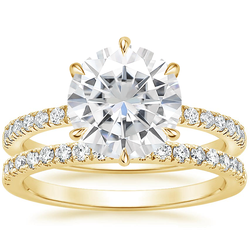 18KY Moissanite Poppy Diamond Ring (1/6 ct. tw.) with Bliss Diamond Ring (1/5 ct. tw.), top view