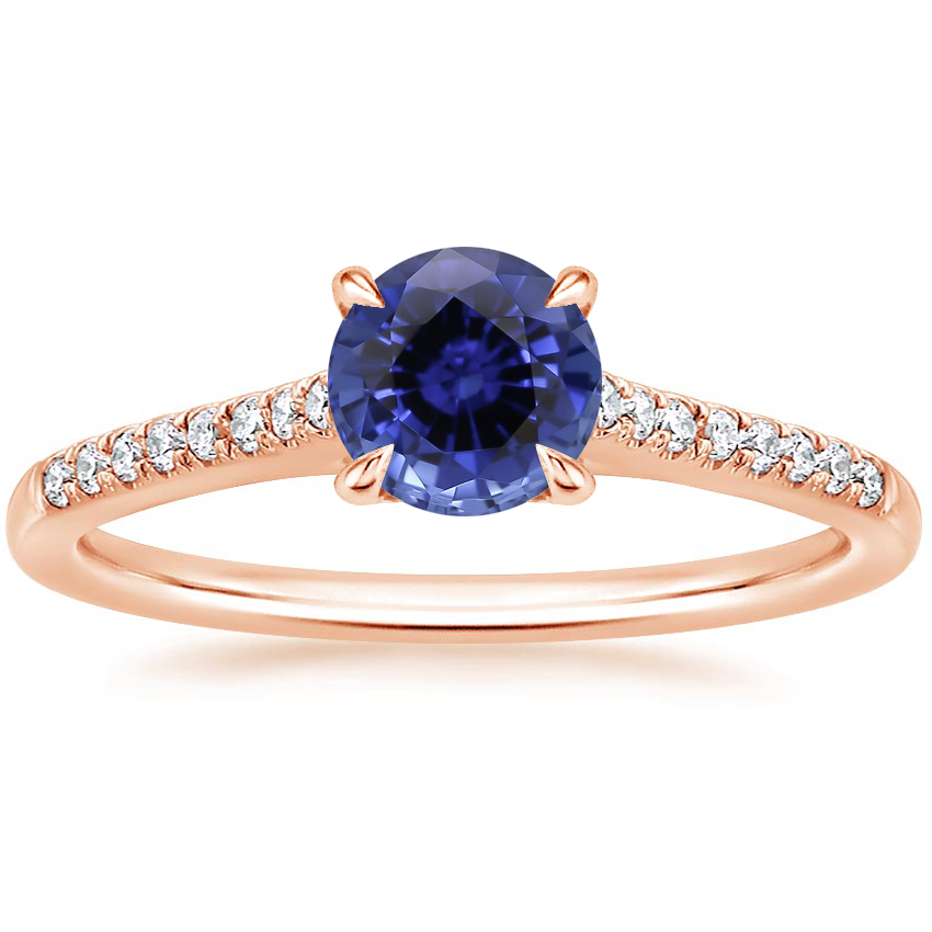 Rose Gold Sapphire Lissome Diamond Ring (1/10 ct. tw.)