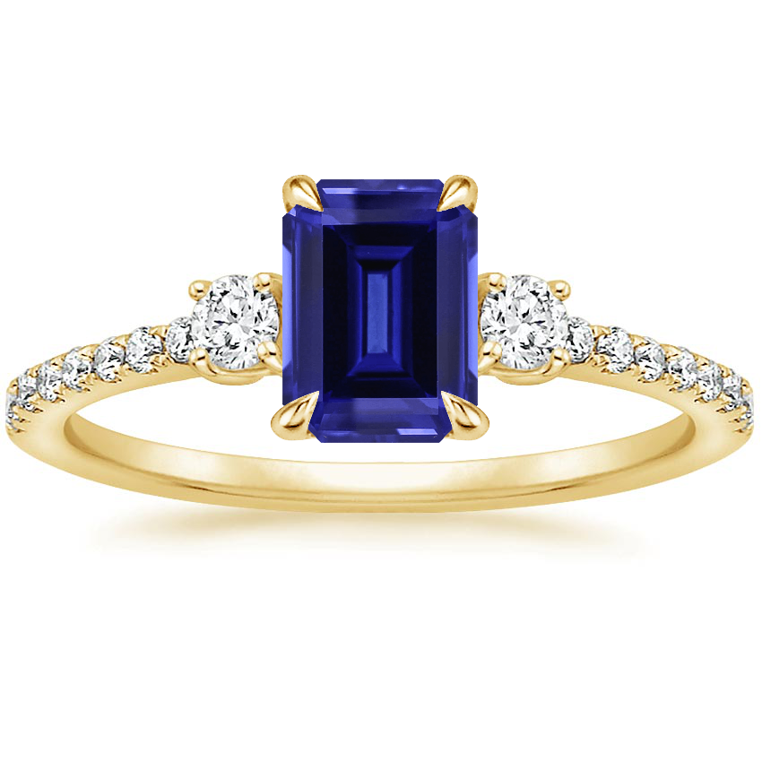 Yellow Gold Sapphire Lyra Diamond Ring (1/4 ct. tw.)