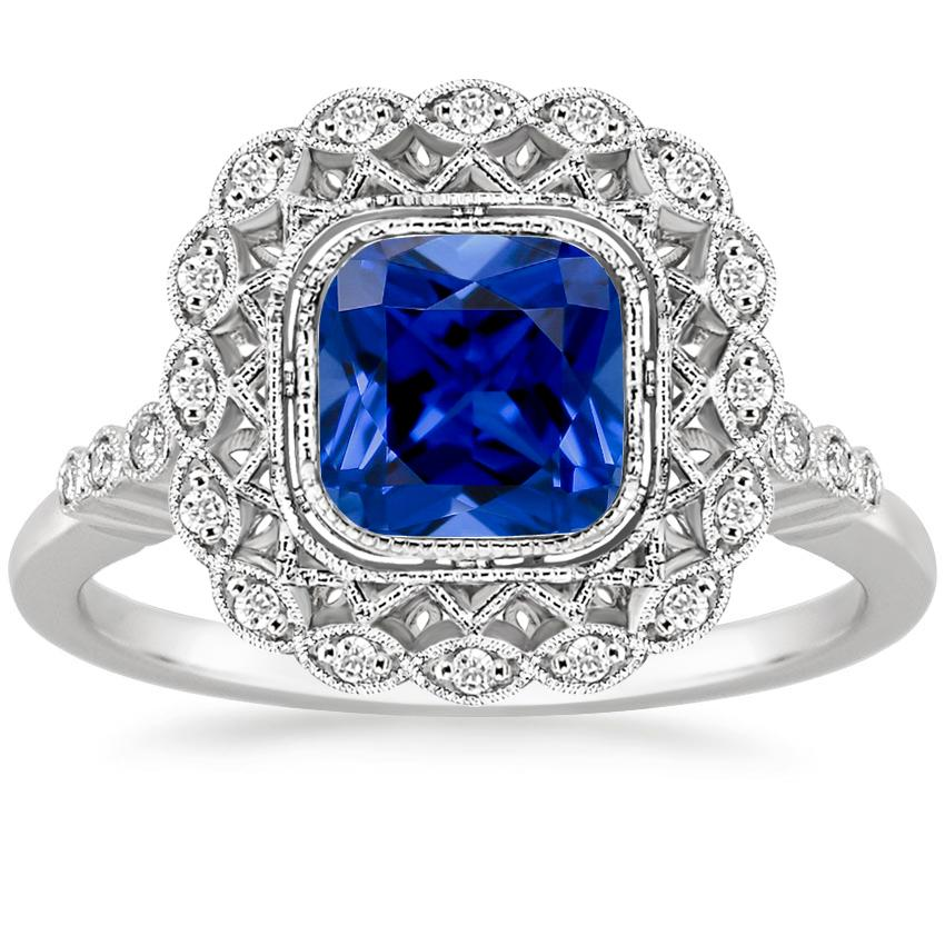 Sapphire Alvadora Diamond Ring in 18K White Gold