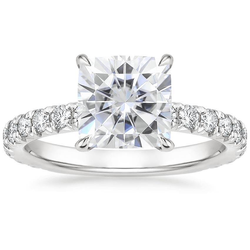 Moissanite Olympia Diamond Ring in 18K White Gold