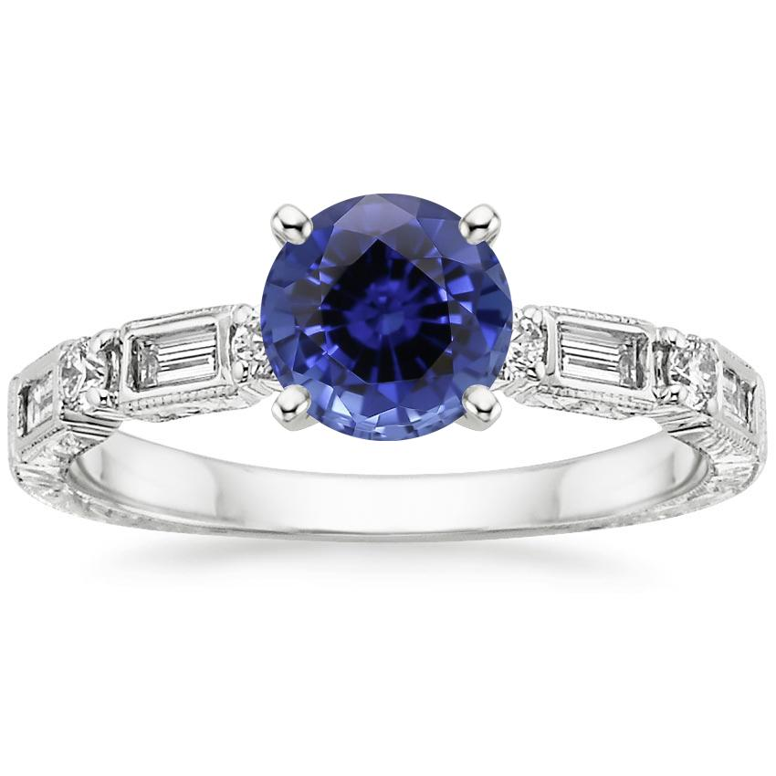 Sapphire Vintage Diamond Baguette Ring (1/4 ct. tw.) in 18K White Gold