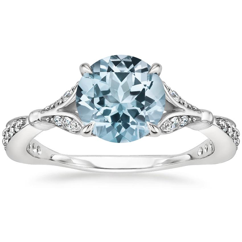 Aquamarine Zinnia Diamond Ring (1/3 ct. tw.) in Platinum