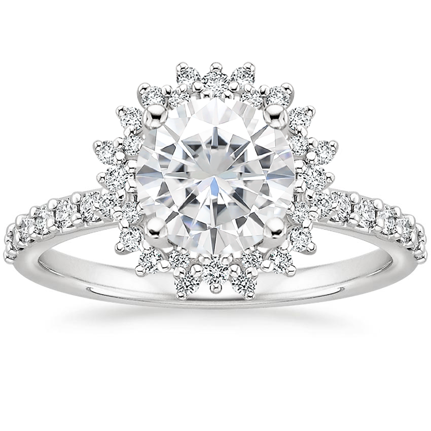 Moissanite Twilight Diamond Ring in 18K White Gold