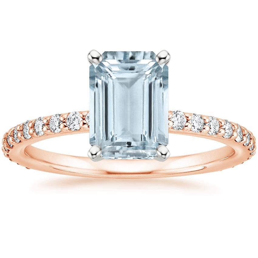 Rose Gold Aquamarine Luxe Petite Shared Prong Diamond Ring (1/3 ct. tw.)