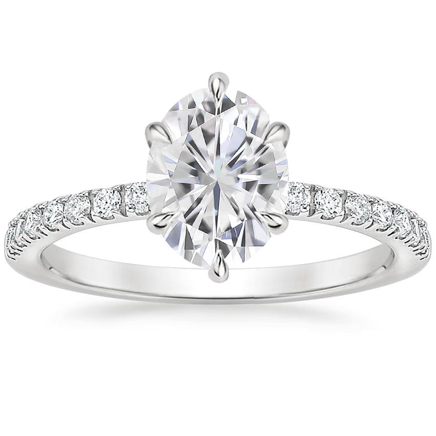 Moissanite Poppy Diamond Ring in 18K White Gold