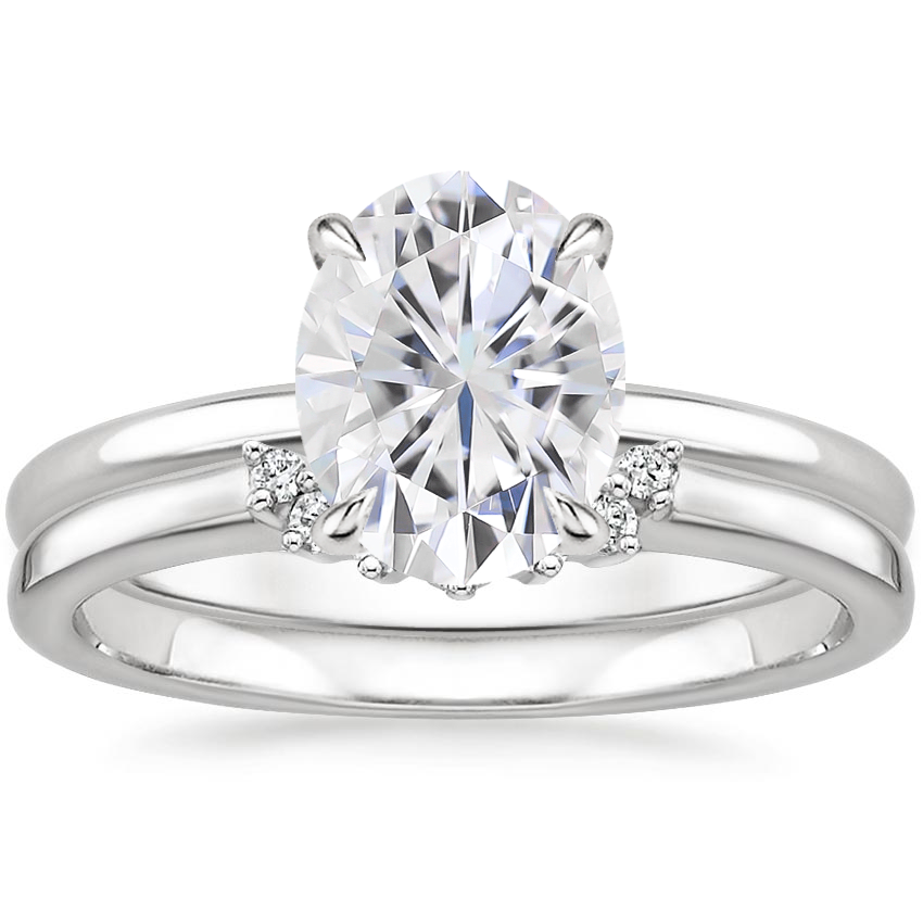 18KW Moissanite Elodie Ring with Crescent Diamond Ring, top view