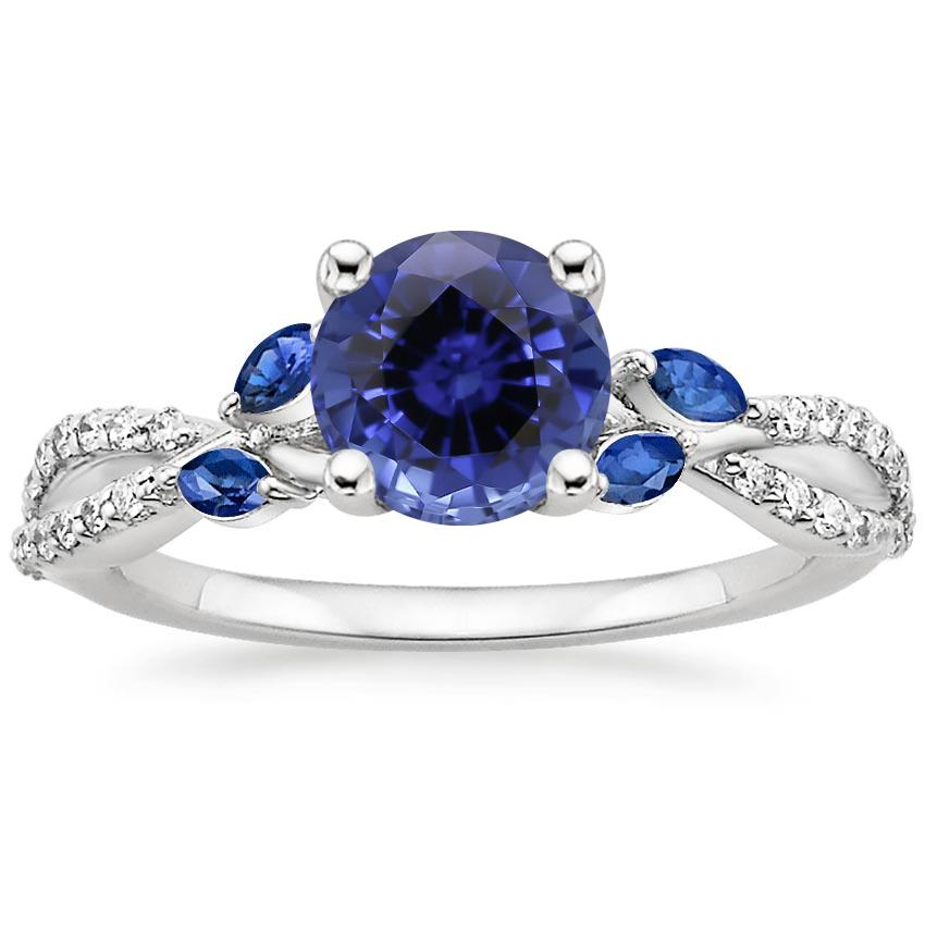 Sapphire Luxe Willow Sapphire and Diamond Ring (1/8 ct. tw.) in 18K White Gold