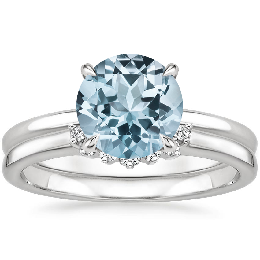 18KW Aquamarine Elodie Ring with Crescent Diamond Ring, top view