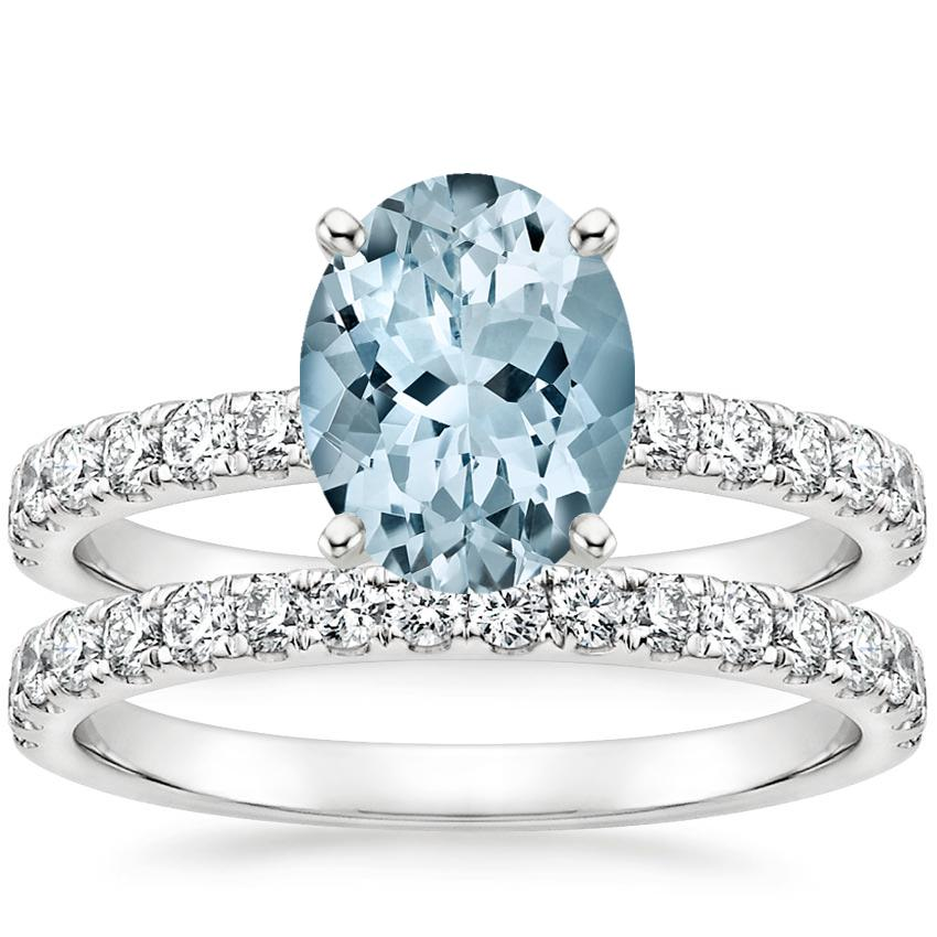 18KW Aquamarine Constance Diamond Bridal Set, top view