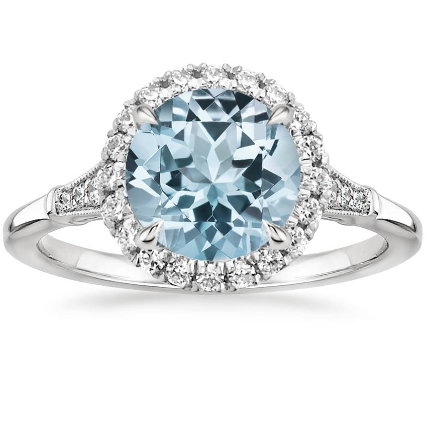 Aquamarine Linden Diamond Ring in 18K White Gold
