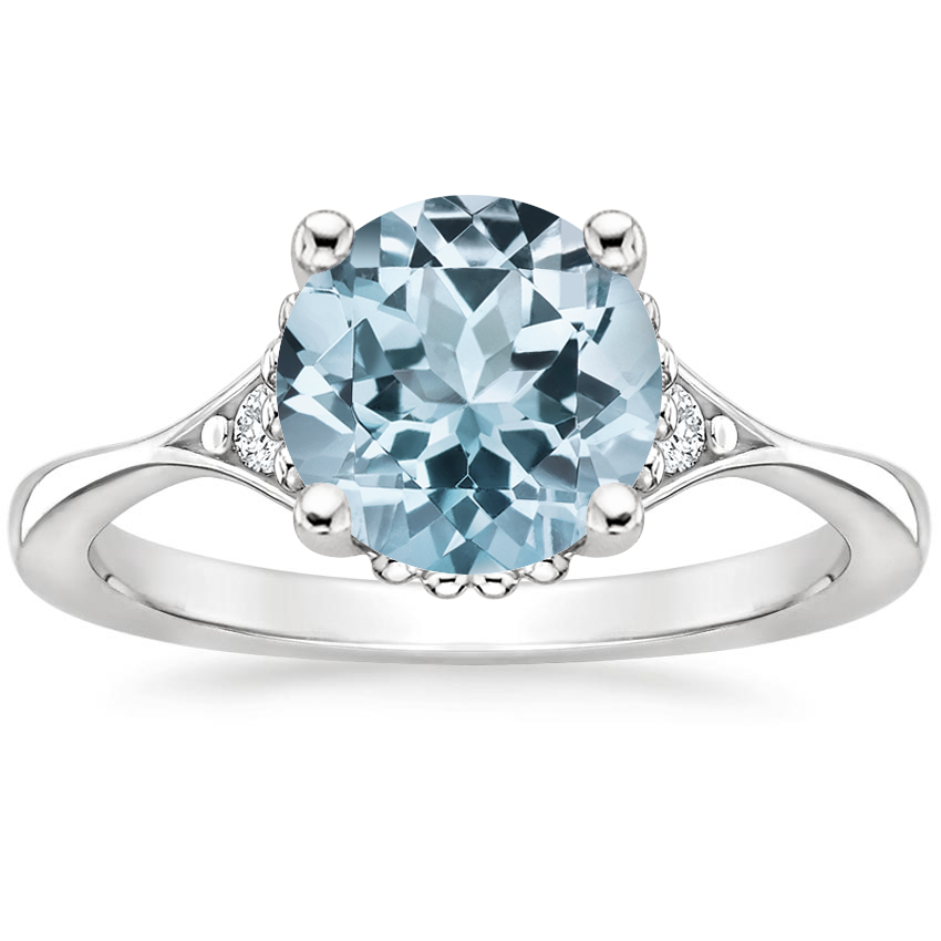 Aquamarine Dolce Diamond Ring in 18K White Gold
