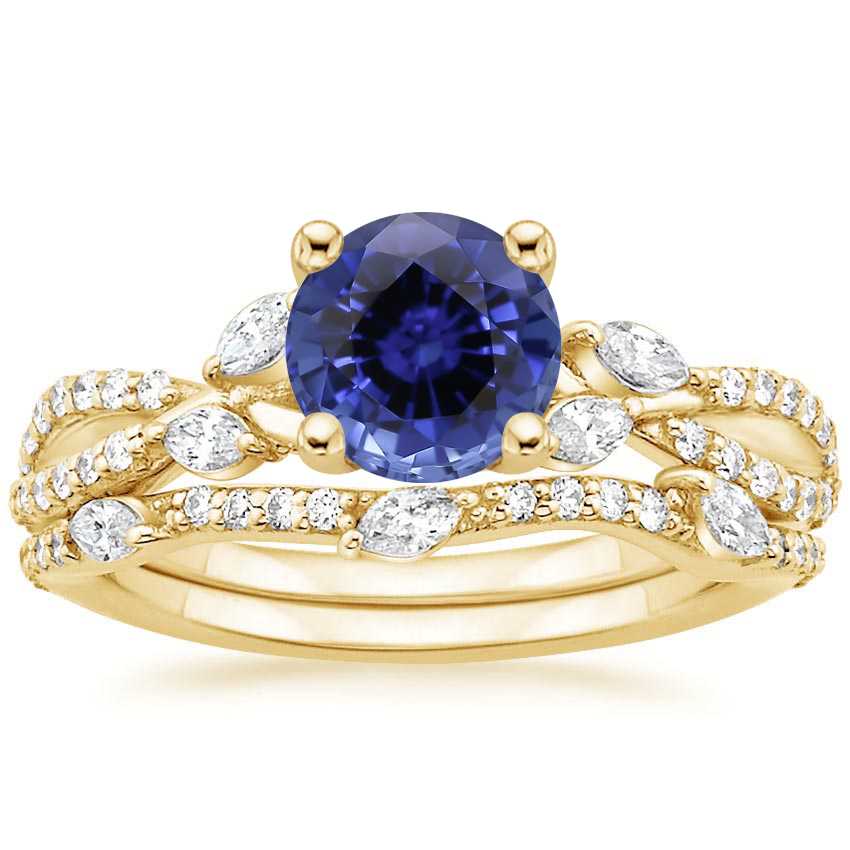 18KY Sapphire Luxe Willow Bridal Set (1/2 ct. tw.), top view