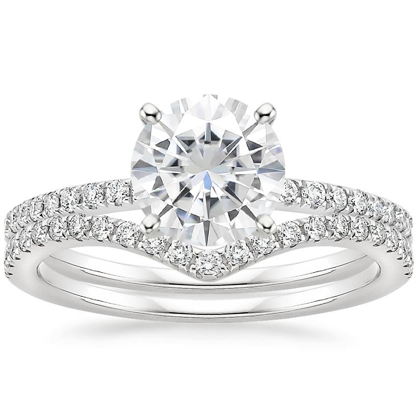 18KW Moissanite Ballad Diamond Ring (1/8 ct. tw.) with Flair Diamond Ring (1/6 ct. tw.), top view