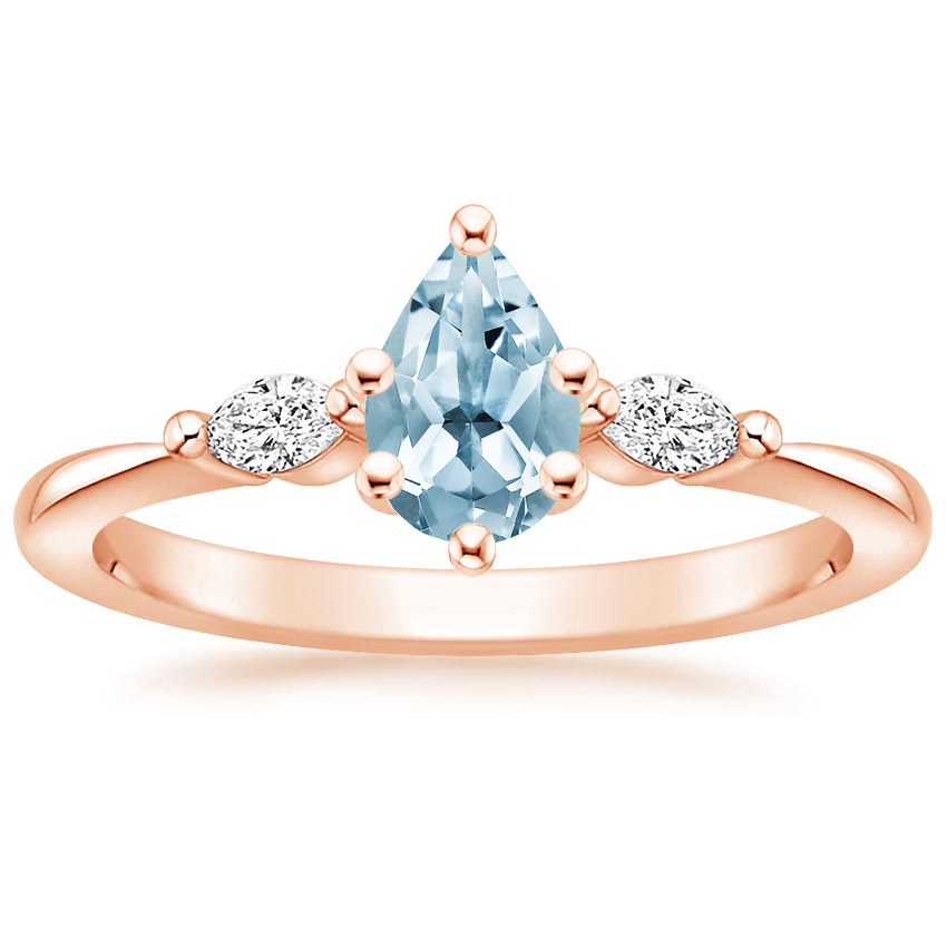 Rose Gold Aquamarine Gia Diamond Ring