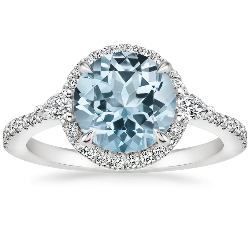 Aquamarine Luxe Aria Halo Diamond Ring (1/4 ct. tw.) in 18K White Gold