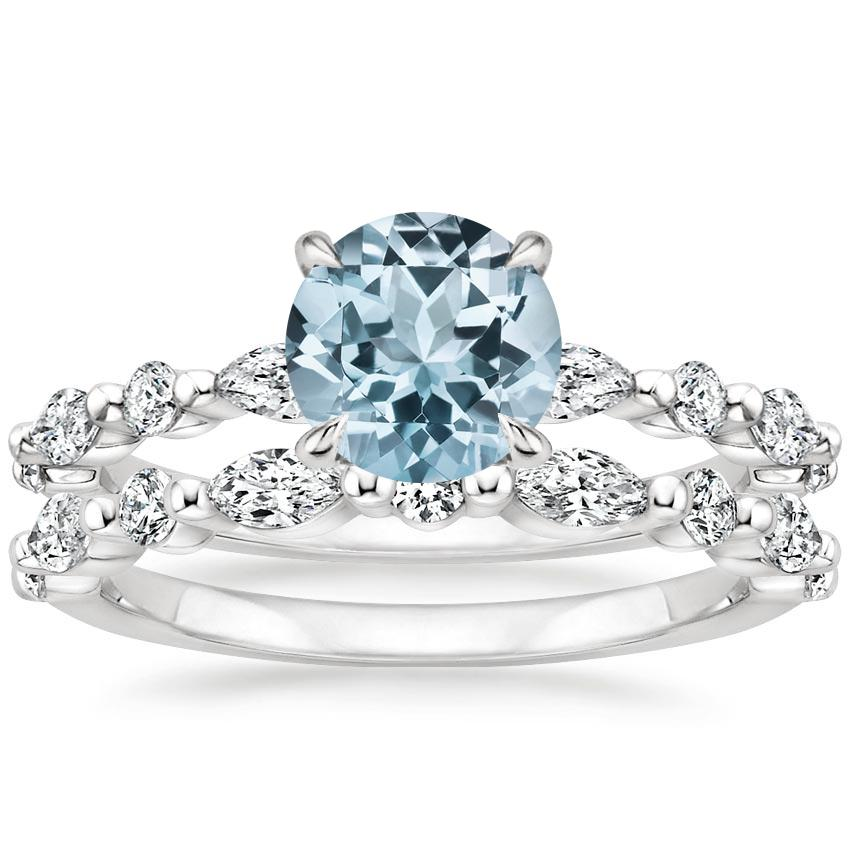PT Aquamarine Versailles Diamond Bridal Set, top view