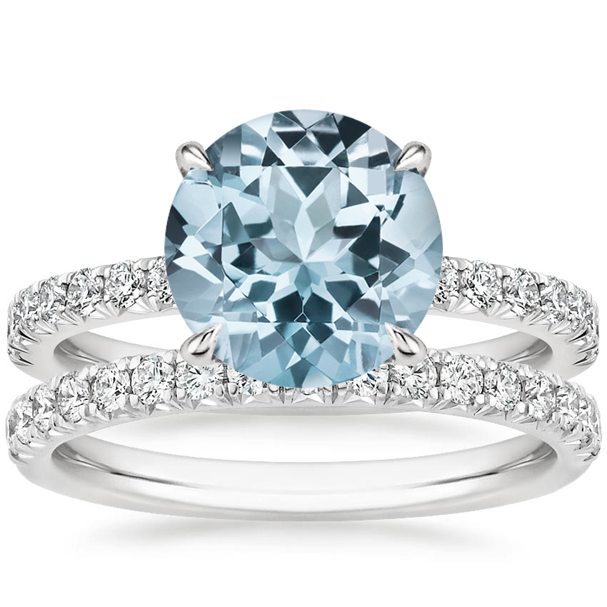 18KW Aquamarine Amelie Diamond Bridal Set, top view