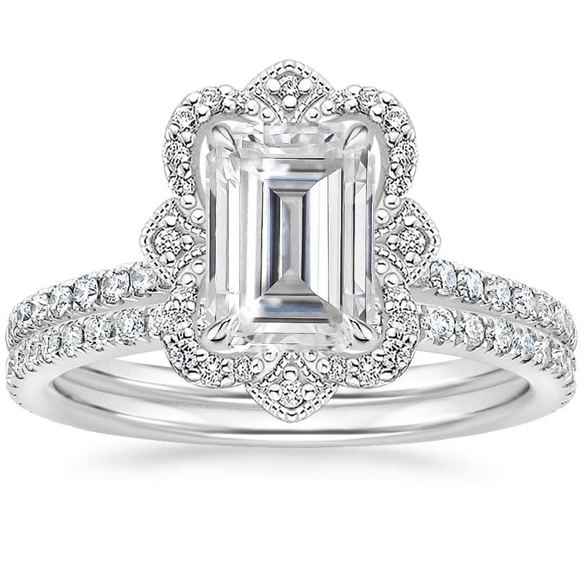 18KW Moissanite Reina Diamond Ring (1/6 ct. tw.) with Luxe Ballad Diamond Ring (1/4 ct. tw.), top view