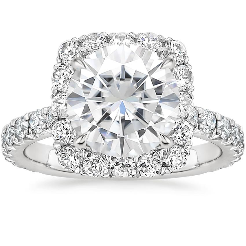Moissanite Estelle Diamond Ring (3/4 ct. tw.) in 18K White Gold