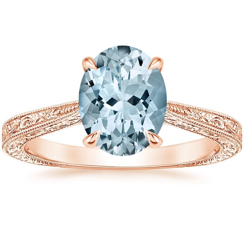 Rose Gold Aquamarine Elsie Ring
