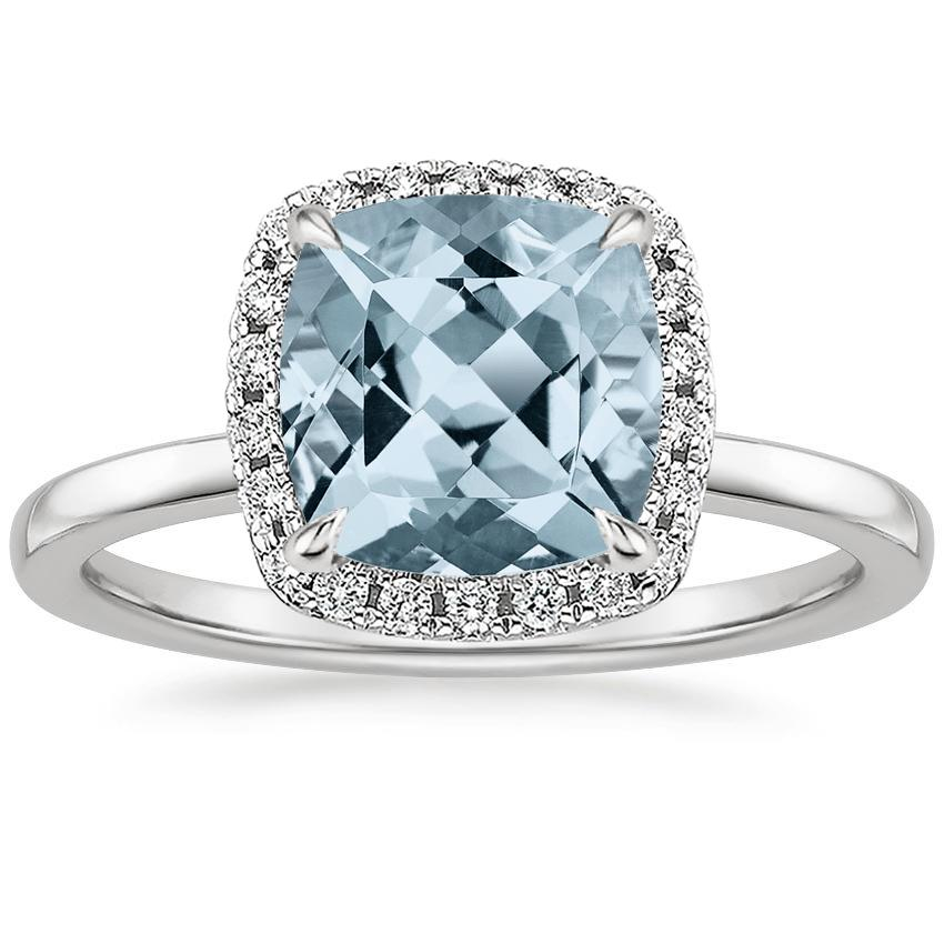 Aquamarine Vienna Diamond Ring in 18K White Gold