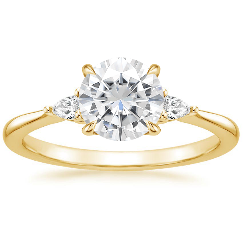 Yellow Gold Moissanite Aria Diamond Ring (1/10 ct. tw.)