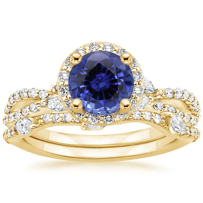 18KY Sapphire Luxe Willow Halo Diamond Bridal Set (5/8 ct. tw.), top view