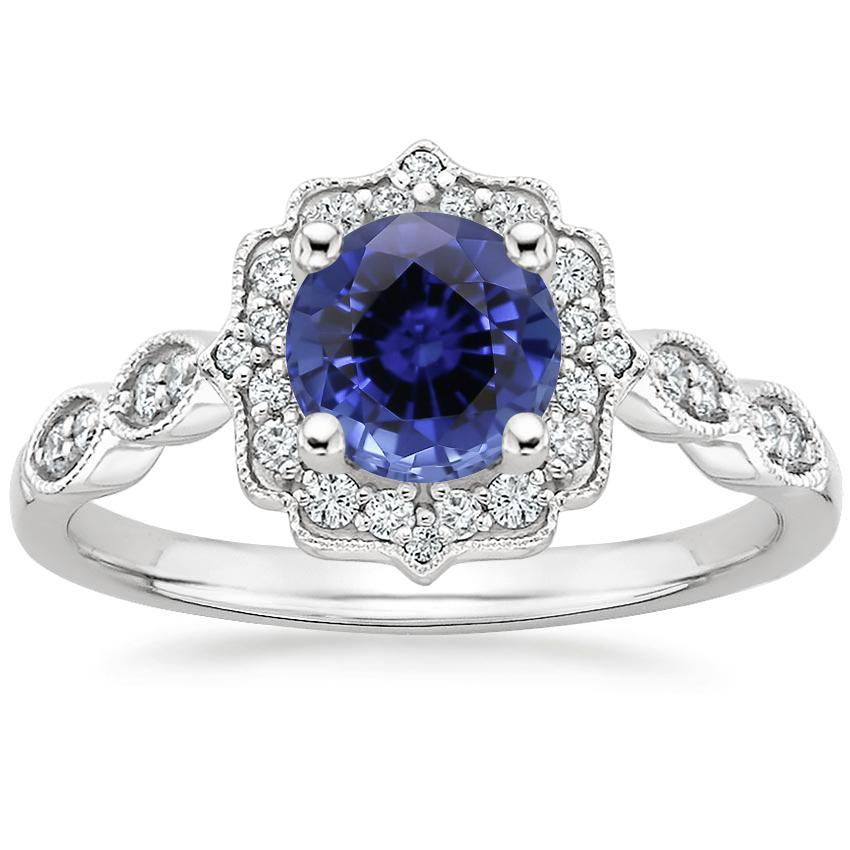 Sapphire Cadenza Halo Diamond Ring in 18K White Gold