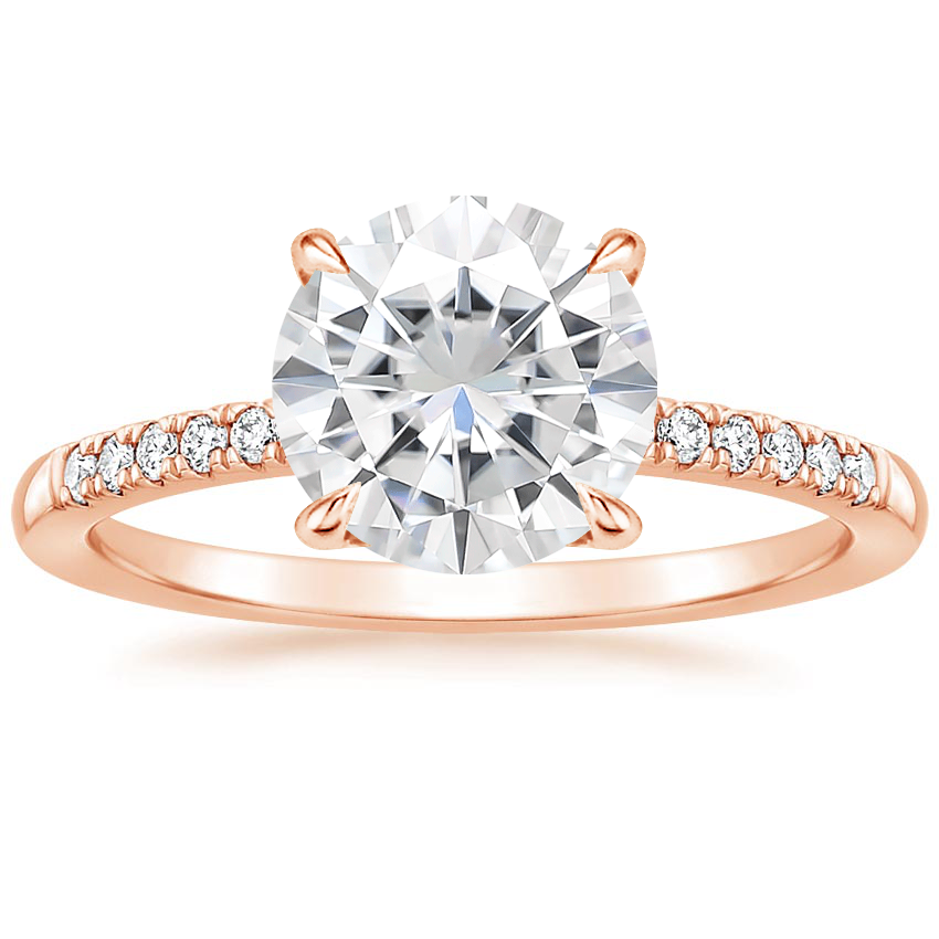 Rose Gold Moissanite Petite Viviana Diamond Ring (1/6 ct. tw.)