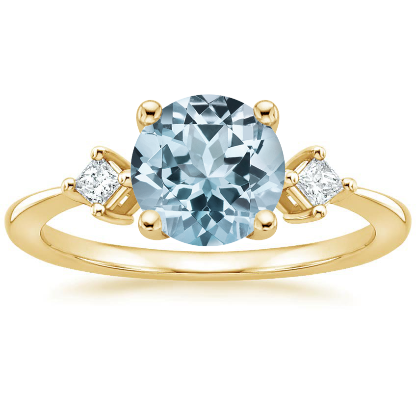 Yellow Gold Aquamarine Tria Diamond Ring