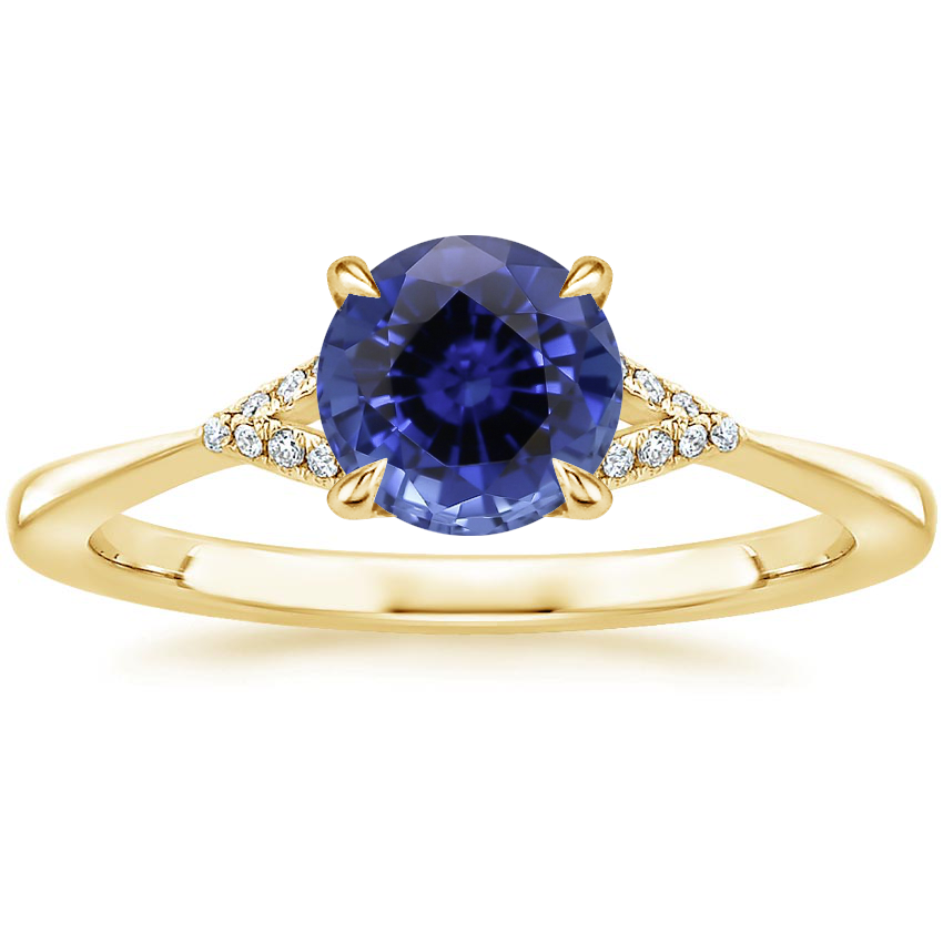 Yellow Gold Sapphire Zoe Diamond Ring
