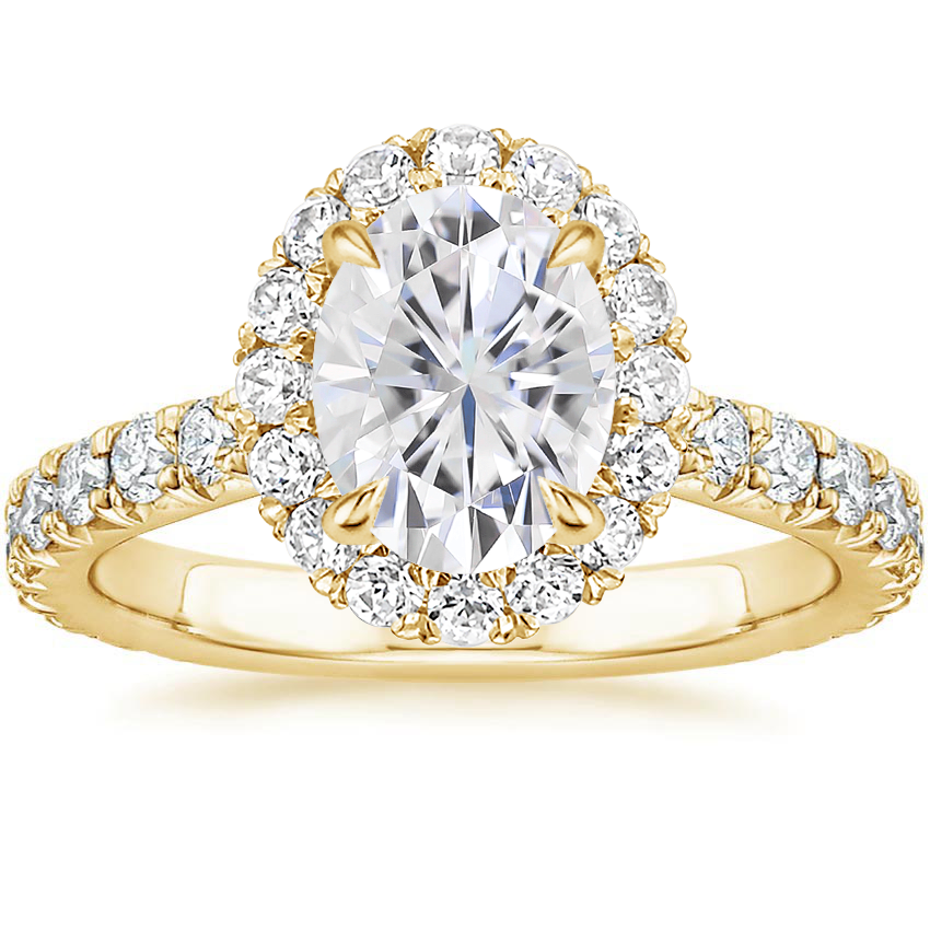 Yellow Gold Moissanite Estelle Diamond Ring (3/4 ct. tw.)