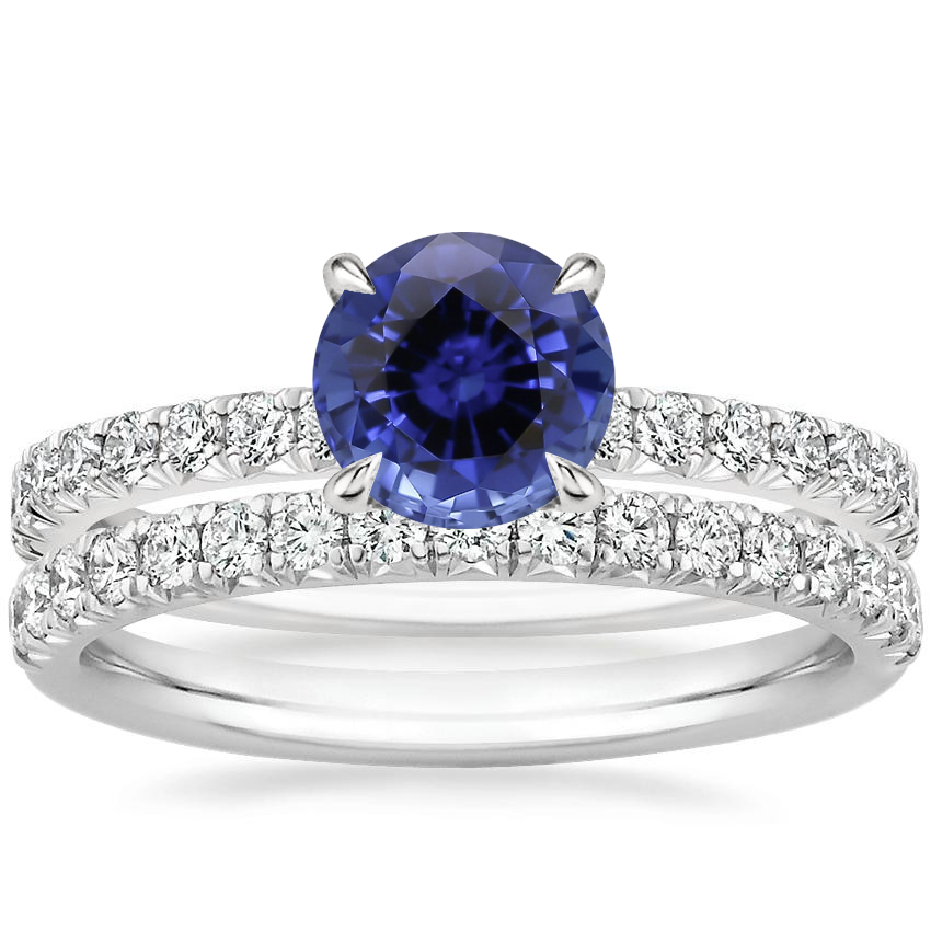 18KW Sapphire Amelie Diamond Bridal Set, top view