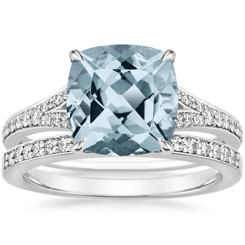 PT Aquamarine Duet Diamond Bridal Set (1/3 ct. tw.), top view