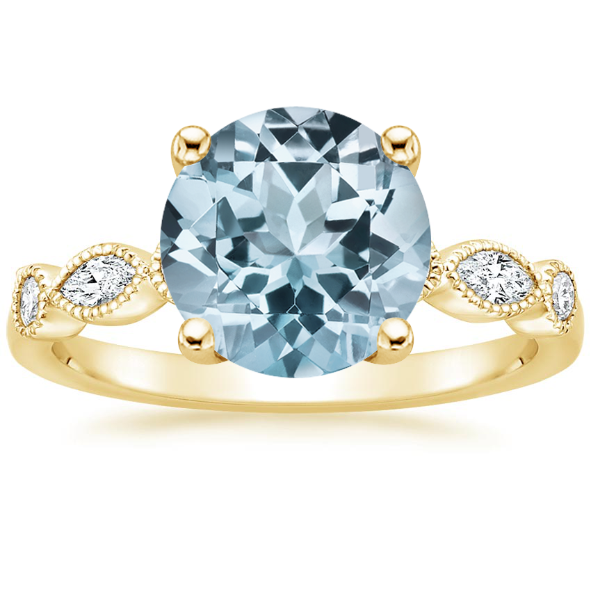 Yellow Gold Aquamarine Rosalie Diamond Ring (1/4 ct. tw.)