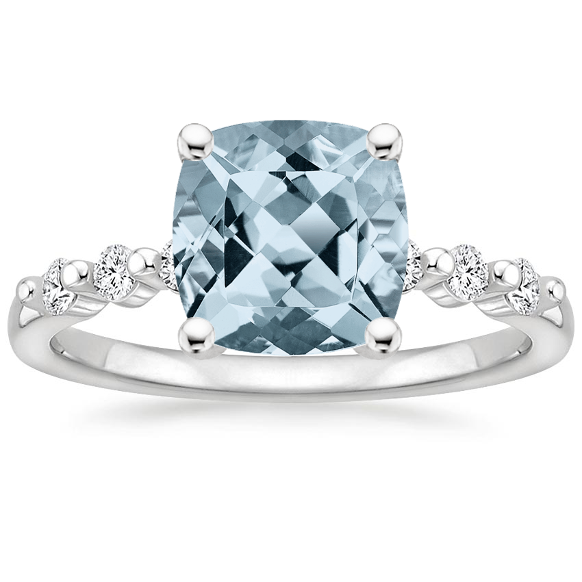 Aquamarine Petite Marseille Diamond Ring (1/6 ct. tw.) in 18K White Gold