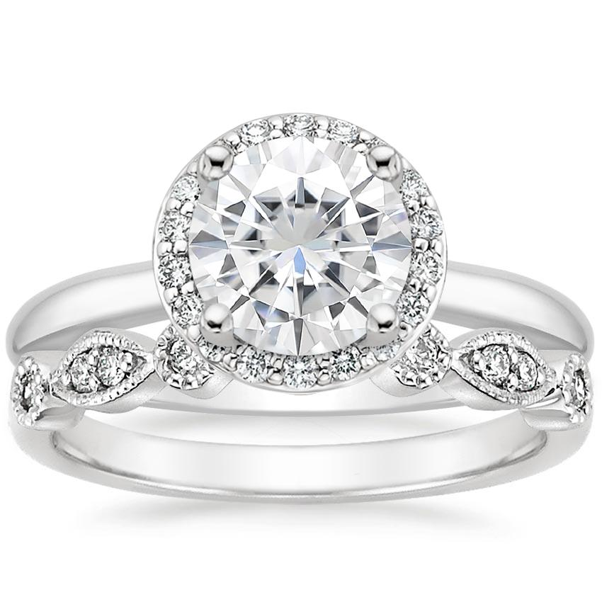 18KW Moissanite Halo Diamond Ring (1/6 ct. tw.) with Tiara Diamond Ring (1/10 ct. tw.), top view