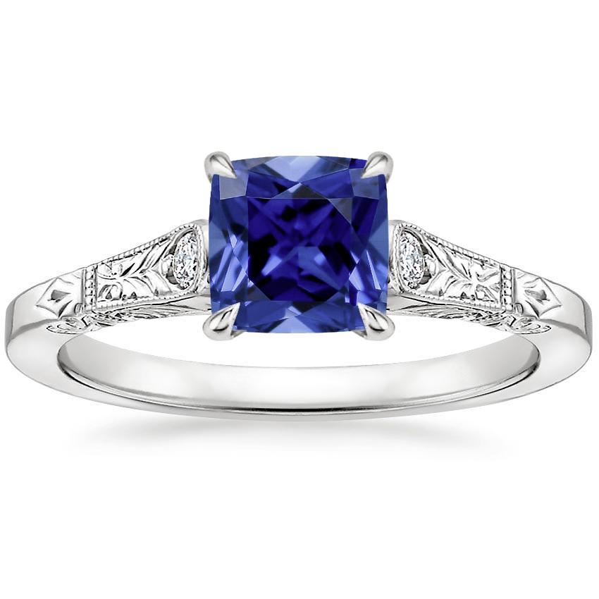 Sapphire Valentina Diamond Ring in 18K White Gold