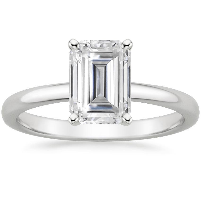 Moissanite 2mm Comfort Fit Ring in 18K White Gold