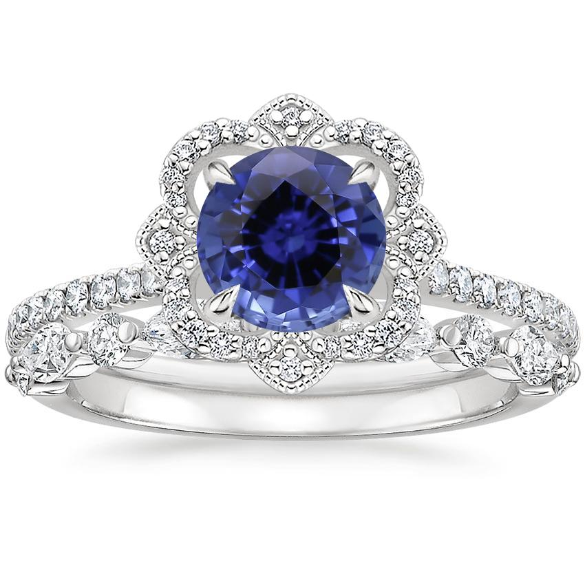 18KW Sapphire Reina Diamond Ring with Versailles Diamond Ring (3/8 ct. tw.), top view