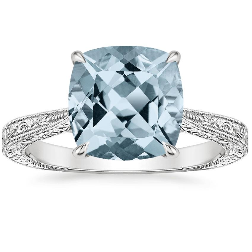 Aquamarine Elsie Ring in Platinum