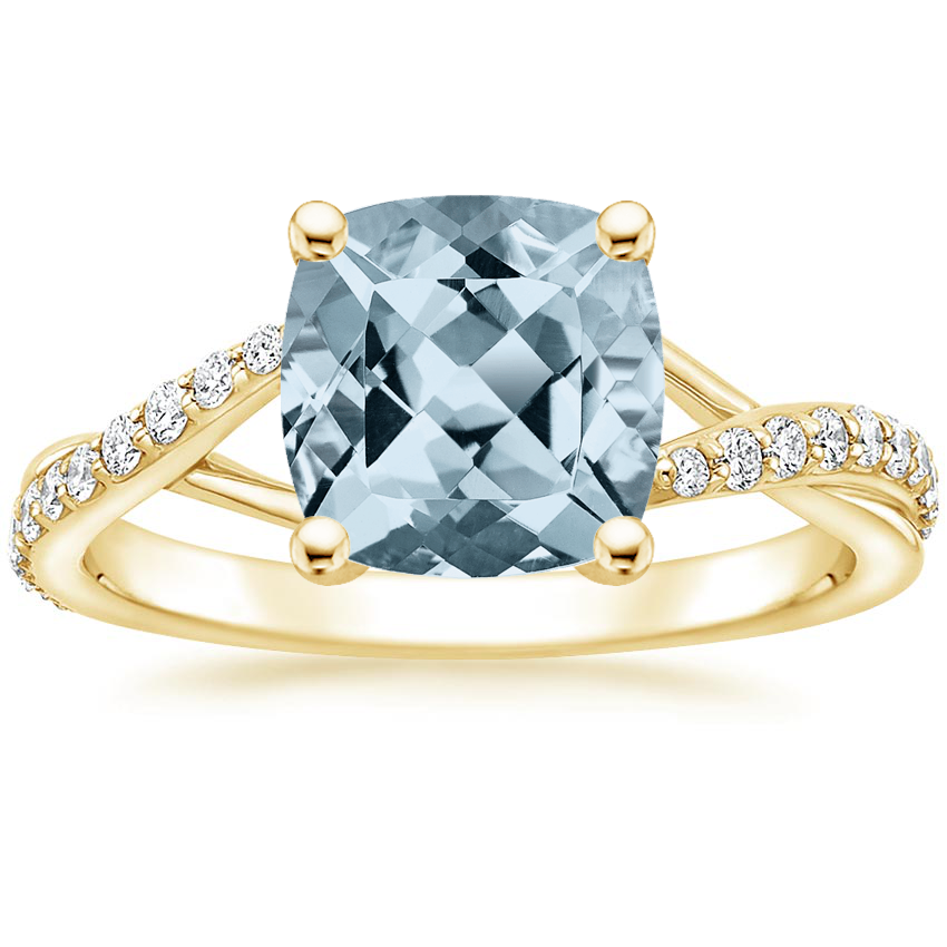Yellow Gold Aquamarine Luxe Chamise Diamond Ring (1/5 ct. tw.)
